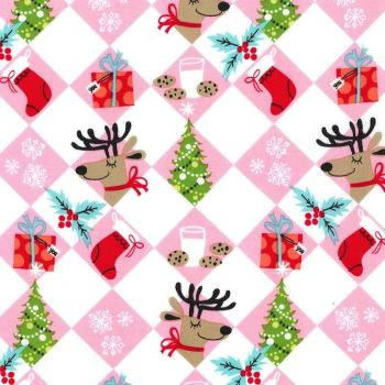 Holiday Row Tinsel Tiles Christmas Festive Winter Reindeer Gifts Trees Snowflakes Michael Miller Cotton Fabric
