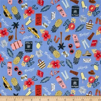 Cotton + Steel Rifle Paper Co. Les Fleurs Bon Voyage Travel Vacation Holiday Periwinkle Blue Metallic Gold Cotton Fabric