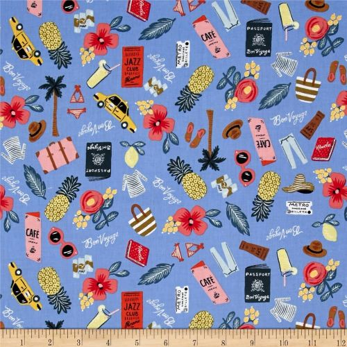 Cotton + Steel Rifle Paper Co. Les Fleurs Bon Voyage Travel Vacation Holida