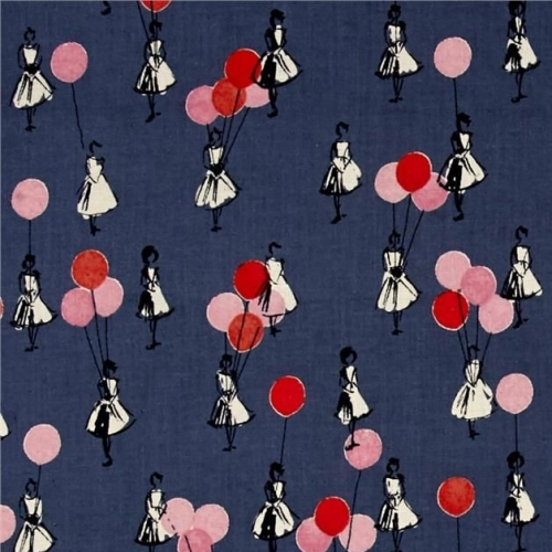 Cotton + Steel Jubilee Girls with Balloons Denim Blue Cotton Fabric by Melo