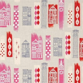 Jubilee In The City Pink London Buildings Travel Pink Cotton Fabric by Melody Miller for Cotton + Steel