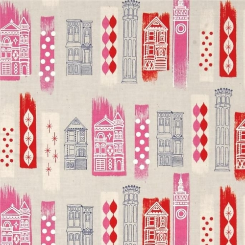 Jubilee In The City Pink London Buildings Travel Pink Cotton Fabric by Melo