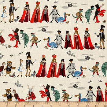 Cotton + Steel Rifle Paper Co. Wonderland Procession Neutral Alice in Wonderland Character Cotton Fabric