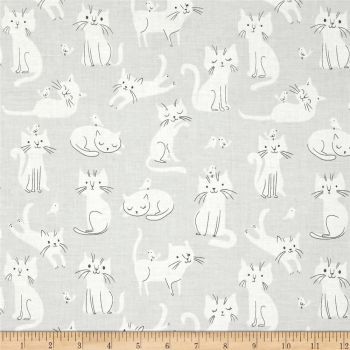 Cats Cat Scatter Whiskers and Tails Kitties Birds Grey Cotton Fabric