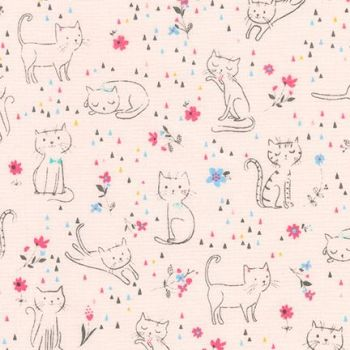 Cats Cat Scatter Whiskers and Tails Kittie Fun Pink Cotton Fabric