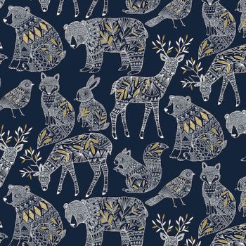 REMNANT Norrland Woodland Creatures Bears Stags Squirrels Navy Metallic Gold Geometric Animal Cotton Fabric