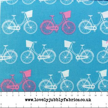 Bicycle Cycling Bike Whimsical Wheels Bikes Blue Pink Cotton Fabric