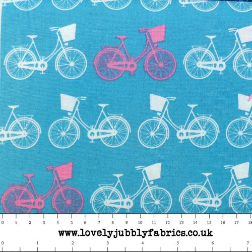 Bicycle Cycling Whimsical Wheels Blue Pink Cotton Fabric