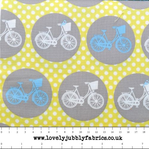 Bicycle Cycling Whimsical Wheels Polkadot Yellow Grey Blue Cotton Fabric