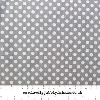 Grey Spotty Dotty Polkadot Whimsical Wheels Cotton Fabric