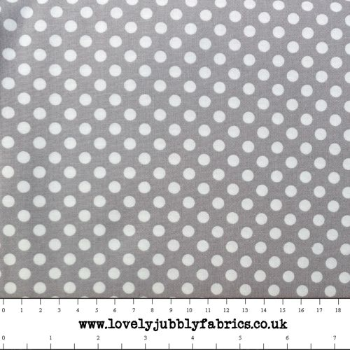 Grey Spotty Dotty Polkadot Whimsical Wheels Cotton Fabric