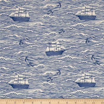 S.S. Bluebird Sailing Boat Ship Nautical Out To Sea Blue Waves Ocean Cotton Fabric by Cotton + Steel