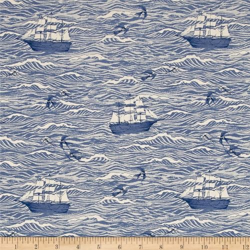 S.S. Bluebird Sailing Boat Ship Nautical Out To Sea Blue Waves Ocean Cotton