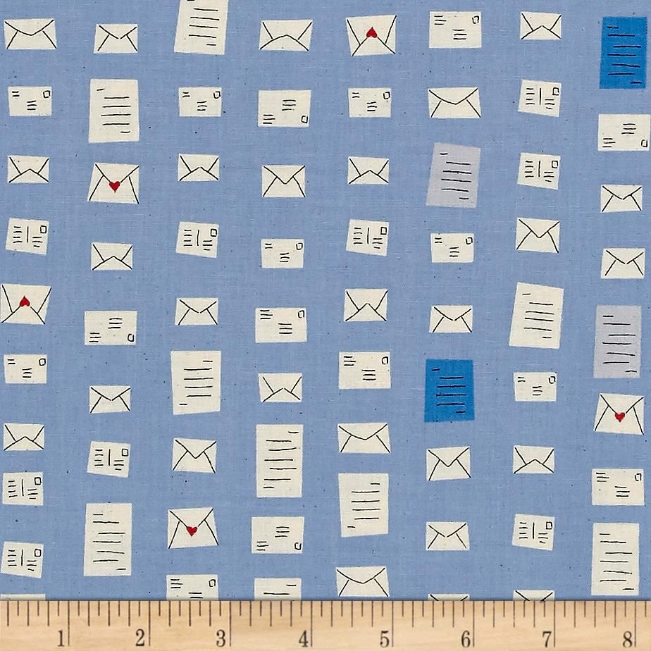 S.S. Bluebird Notes Blue Letter Envelope Mail Postal Cotton Fabric by Cotto