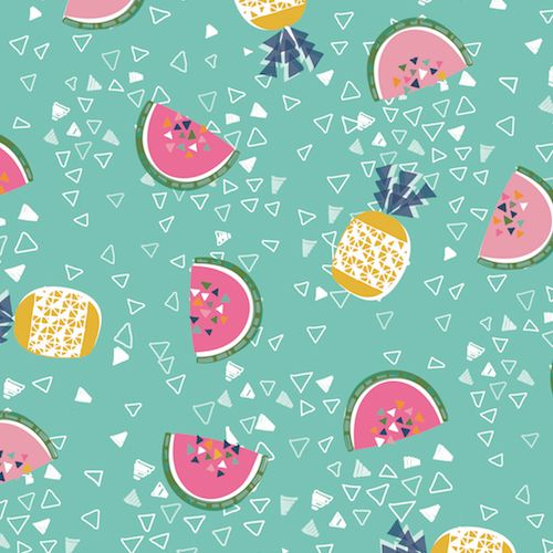 Pineapple Watermelon Tropical Triangle Geometric Cotton Fabric