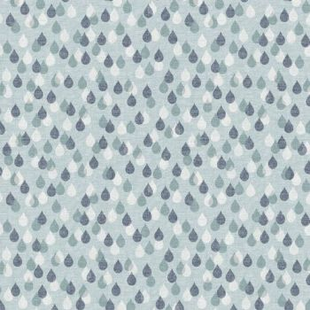 Birdsong Raindrops Rain Drop Droplet Blue Grey White Cotton Fabric