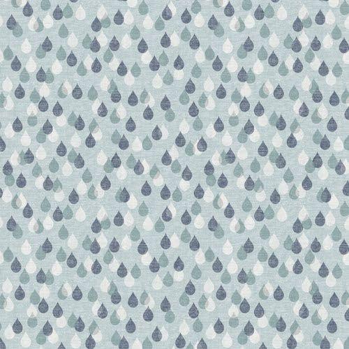 Birdsong Raindrops Rain Drop Droplet Blue Grey White Cotton Fabric