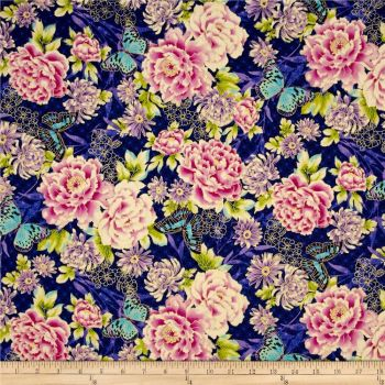 Flights of Fancy Oriental Floral Blue Floral Metallic Gold Butterfly cotton fabric