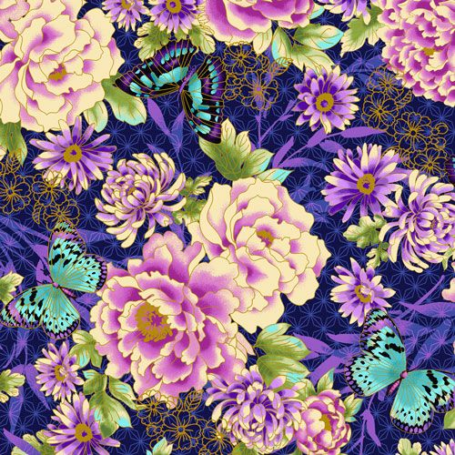 Flights of Fancy Oriental Floral Blue Floral Metallic Gold Butterfly cotton