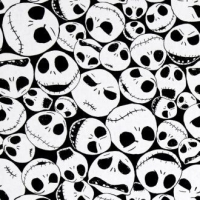 Disney Nightmare Before Christmas Packed Jack Skellington Faces on Black Cotton Fabric