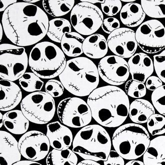 Disney Nightmare Before Christmas Packed Jack Skellington Faces on Black Co