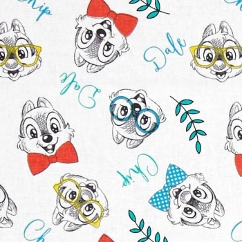 Disney Chip and Dale Chipmunk Recue Rangers Fashion Trend Sketch Cotton Fabric