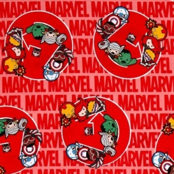 Marvel Avengers Civil War Kawaii United Superhero on Red Cotton Fabric