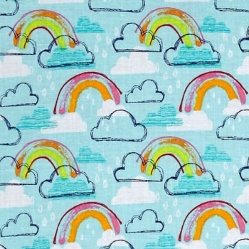 Michael Miller Jubilee Rainbows Rainclouds Clouds Raindrops Rainbow Colour Rain Drops Aqua Cotton Fabric