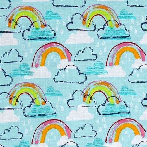 Michael Miller Jubilee Rainbows Rainclouds Clouds Raindrops Rainbow Colour