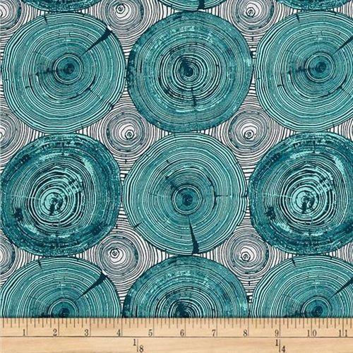 Modernist Tree Ring Bling Peacock Cotton Fabric