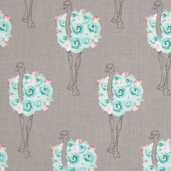 Curiosities Ostrich Gray Rose Floral Bird Cotton Fabric