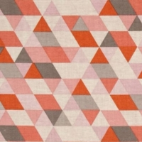 Geometric Triangle Ava Rose on Coral Pink Grey Orange Cotton Fabric