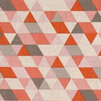 REMNANT Geometric Triangle Ava Rose on Coral Pink Grey Orange Cotton Fabric