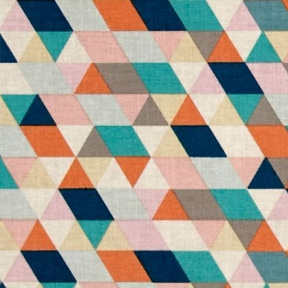 Geometric Triangle Ava Rose in Navy Blue Teal Orange Pink Cotton Fabric