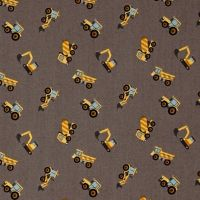 Tiny Diggers on Grey Builders Small Things On The Move Digger Construction Truck Transport Cotton Fabric