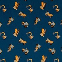 REMNANT Tiny Diggers on Blue Builders Small Things On The Move Digger Construction Truck Transport Cotton Fabric