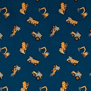 Tiny Diggers on Blue Builders Small Things On The Move Digger Construction Truck Transport Cotton Fabric
