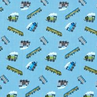 Tiny Trains on Blue Steam Engine Small Things On The Move Locomotive Train Transport Cotton Fabric