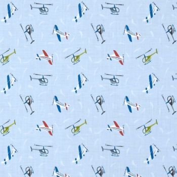 Tiny Planes on Light Blue Helicopter Airplane Small Things On The Move Aeroplane Flight Transport Cotton Fabric