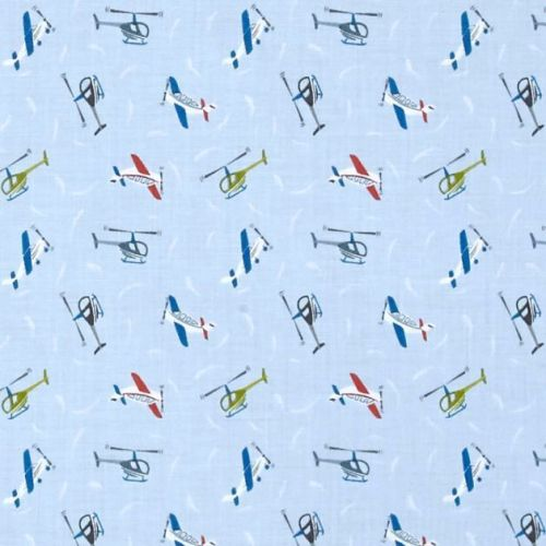 Tiny Planes on Light Blue Helicopter Airplane Small Things On The Move Aero