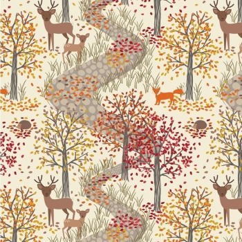 Autumn In Bluebell Woods First Frost Foxes Trees Woods Stags Deer Hedgehogs Fall Woodland Tree Cotton Fabric
