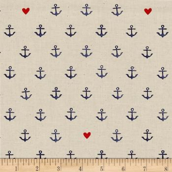 S.S. Bluebird You're My Anchor Natural Hearts Anchors Nautical Sailor Sailing Cotton Fabric by Cotton + Steel