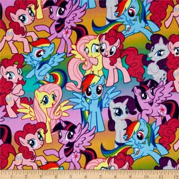 REMNANT My Little Pony Packed Ponies Multi Cotton Fabric