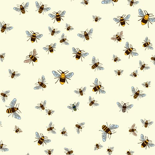 REMNANT Bee Fabric Honey Bees on White Cotton Fabric