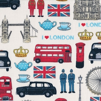 London Revisited Britain's Best British Iconic Landmark London Union Jack Travel Cotton Fabric