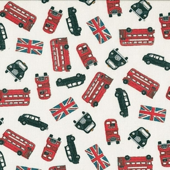 London Revisited Red Buses Scatter Taxi Black Cab Bus British Union Jack Flag Travel Cotton Fabric