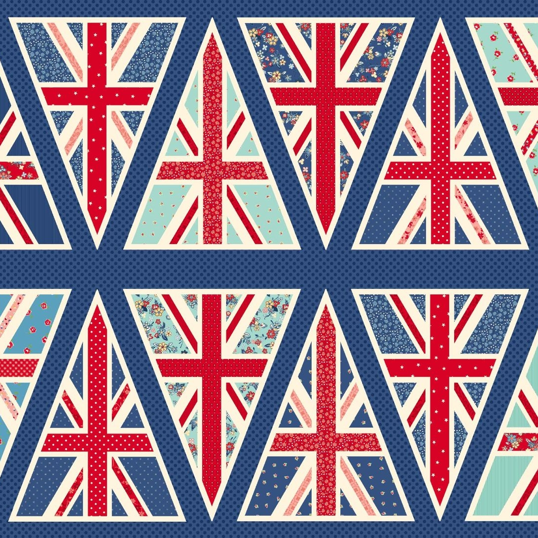 London Revisited Union Jack Flag British DIY Bunting Panel Cotton Fabric