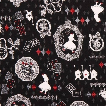 Kokka Alice in Wonderland Playing Cards White Rabbit Lewis Carroll Character Japanese Cotton Fabric