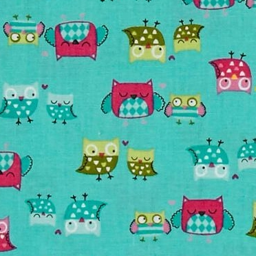 Owl It's A Hoot Mother and Child Owls on Turquoise Cotton Fabric
