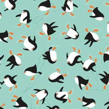 Novelty Christmas Ice Skating Penguin Turquouse Penguins Festive Cotton Fabric